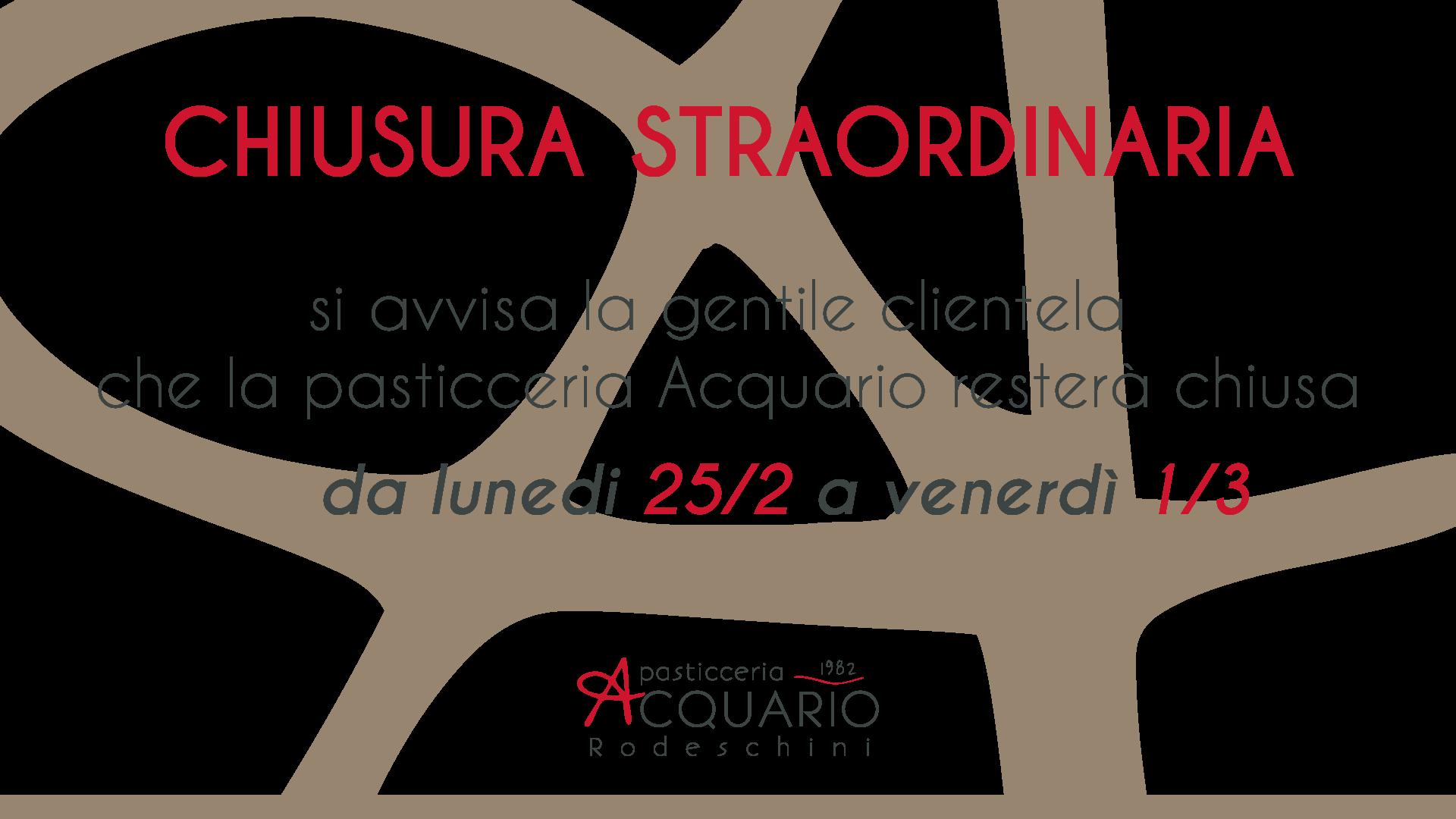 Chiusura straordinaria pasticceria acquario