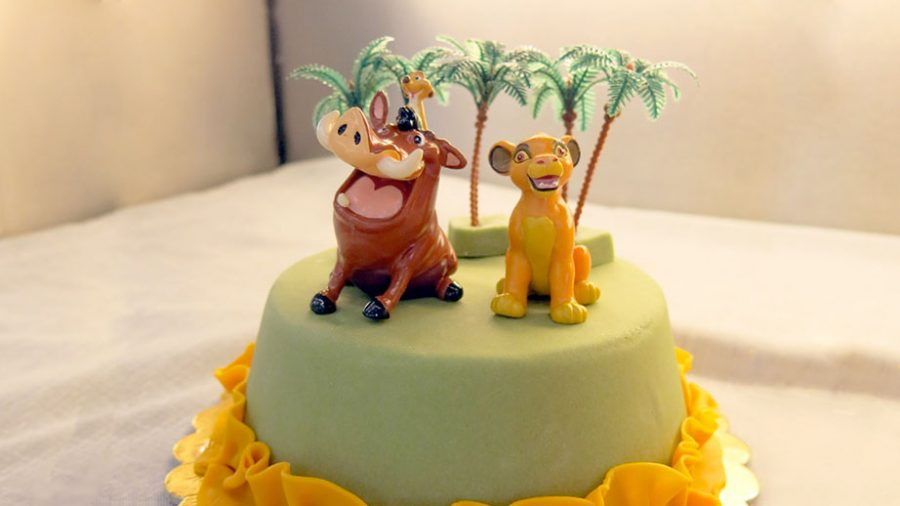 Torta di compleanno in pasta di zucchero - Timon e Piumba